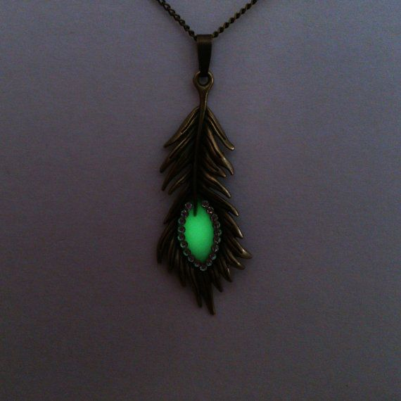 Green Glowing Necklace Peacock Feather by BespokeInnaDesign