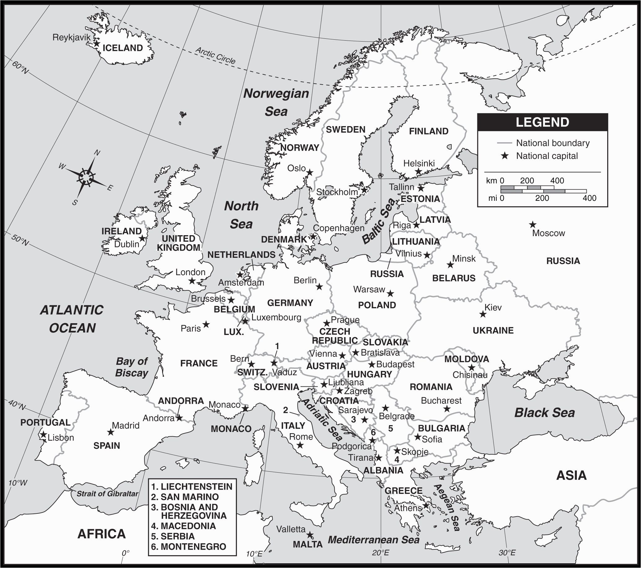 Map Of Europe With Countries Black And White