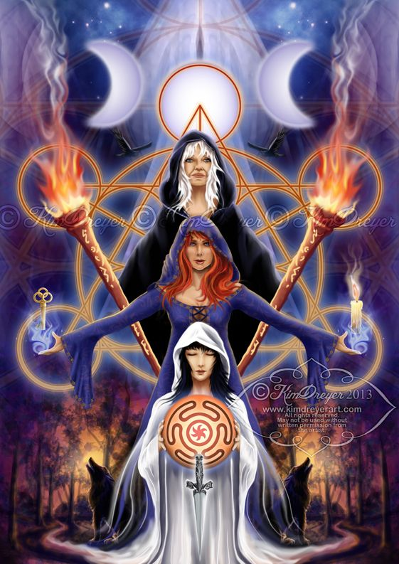 """Magick Wicca Witch Witchcraft: """"#Hecate ~ Triple Goddess,"""" by Kim Dreyer."""