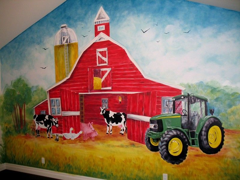 This could be the coolest barnyard and JOHN DEERE wall that I have