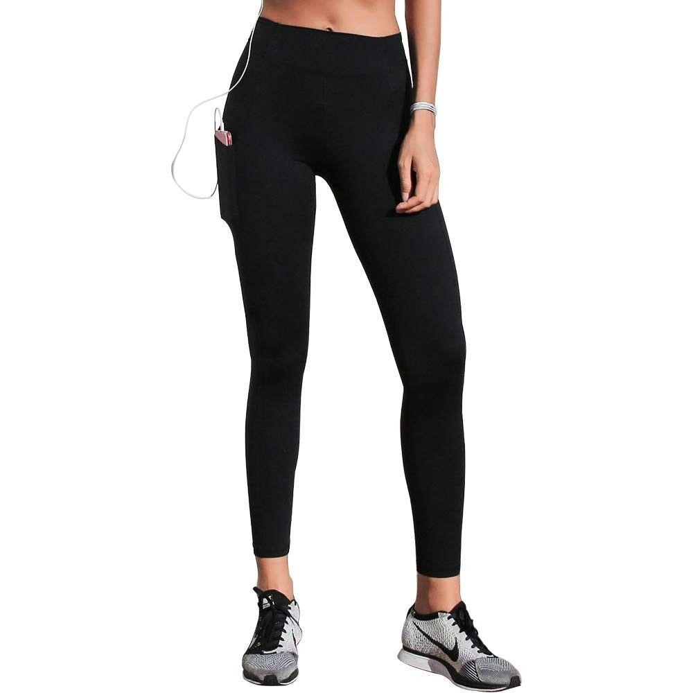 High-Waisted Gym Leggings - Women's Stretch Tights Quick-Dry Yoga Pants - Black - CX18NX70C3K - Spor...