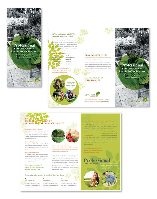 Lawn Care Services Tri Fold Brochure Template  Brochures And