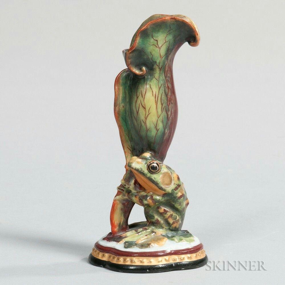 union porcelain frog vase greenpoint new york c 1877 modeled
