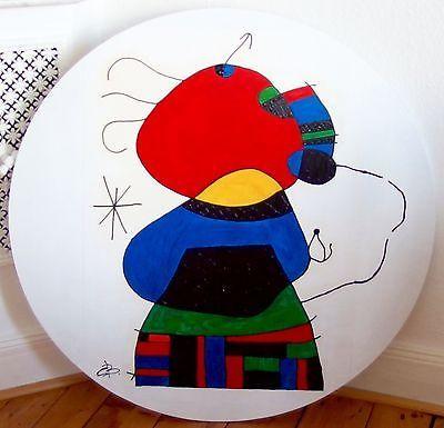 Hommage-a-MIRO-Originale-Acryl-Malerei-auf-Rund-Keilrahmen-D-90cm