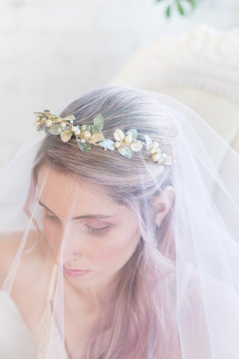 Leaf Crown, Prom Crown, Bridal Pearl Hair Vine, Ren Faire Jewelry, Hair Wreath, Wedding Tiara, Gold Hair Accessories, Fall Accessories