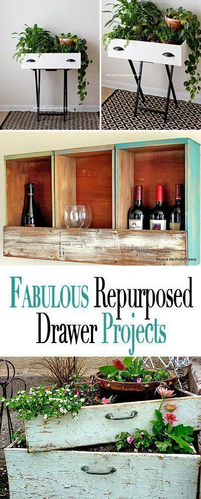 UpCycled Furniture  Repurposed Drawer Projects is part of Furniture projects, Repurposed furniture, Furniture makeover, Flipping furniture, Drawers repurposed, Diy furniture - We love upcycled furniture! Use these repurposed drawer projects as the perfect DIY for when you need to make something gorgeous out of  junk !