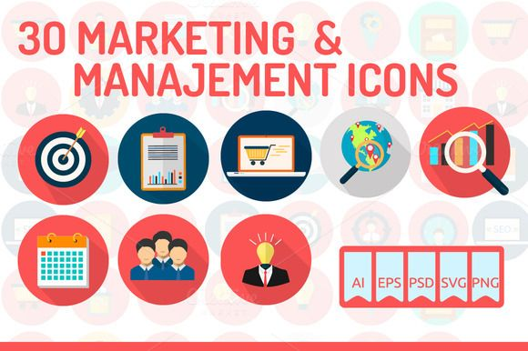 30 Marketing & Management Icons by Graphiqa-Stock on @creativemarket