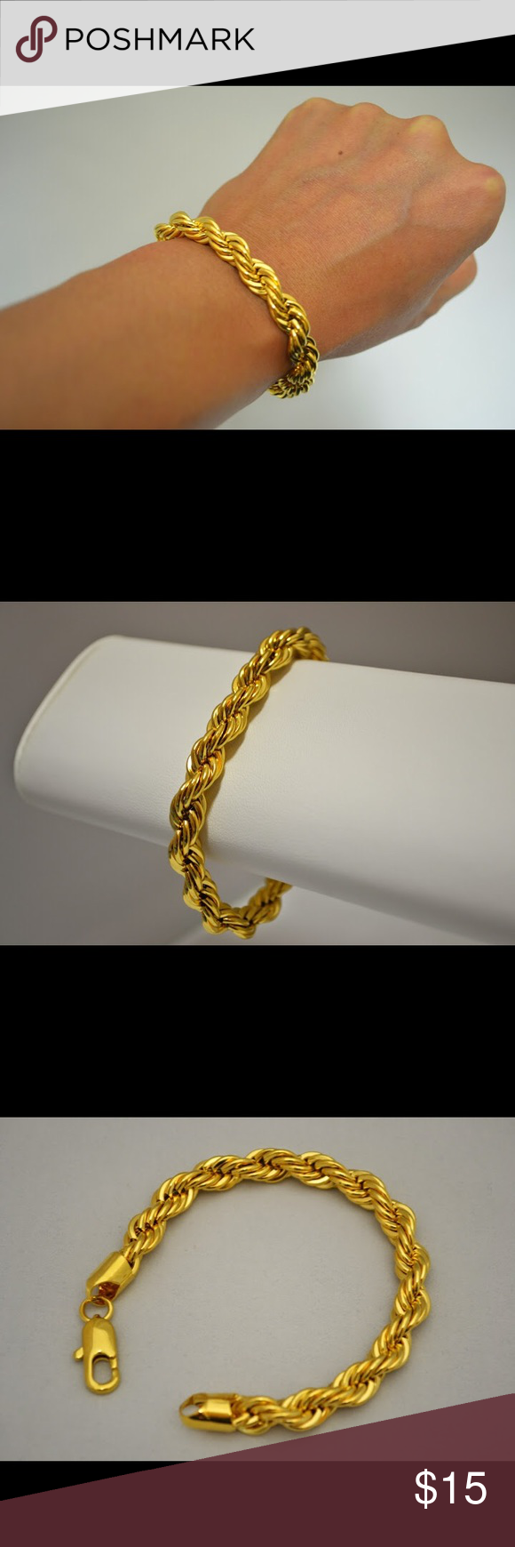 10mm 24k Gold Overlay French Rope Chain Bracelet Chain Bracelet Rope Chain Gold