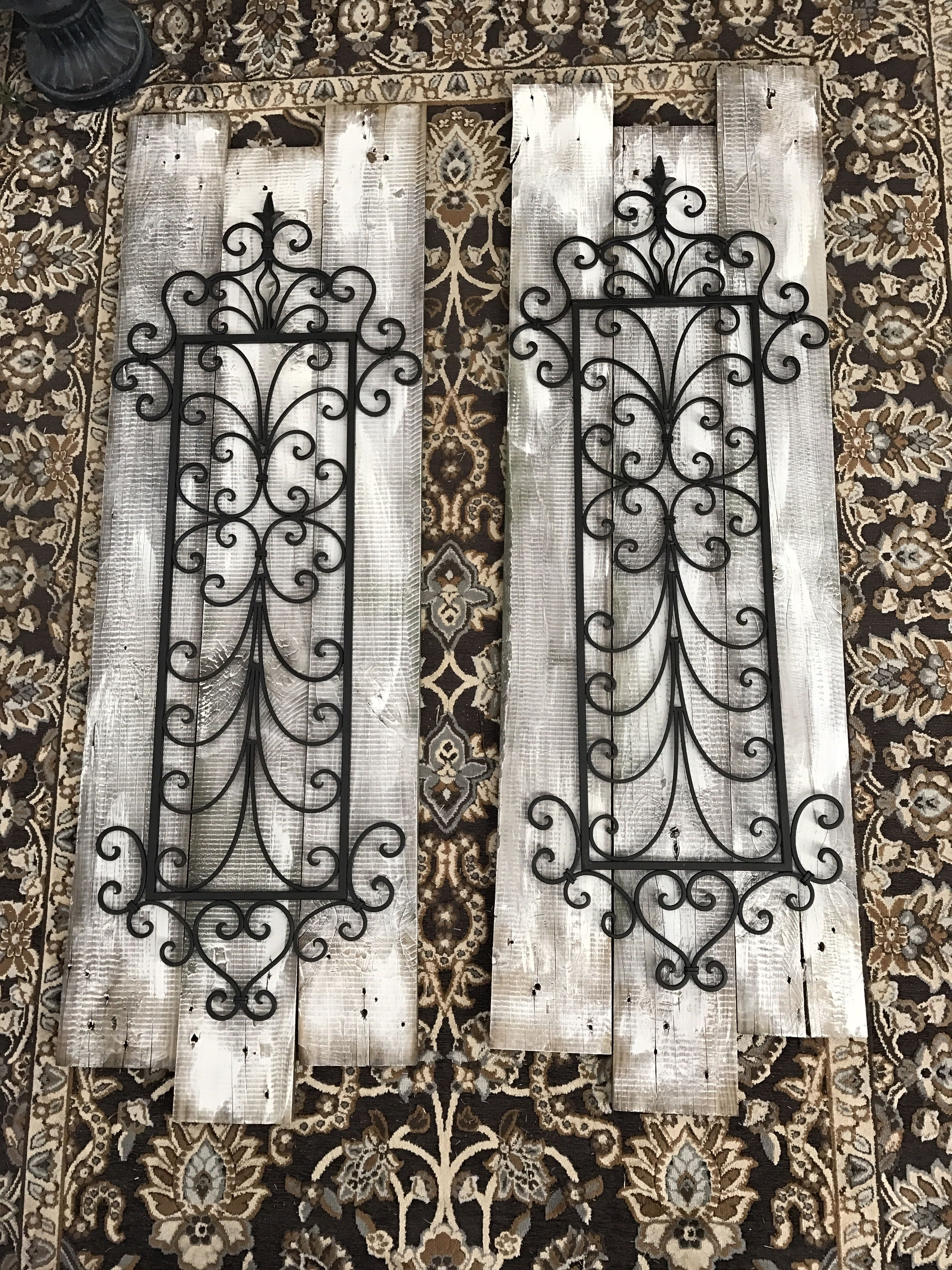 Old Pallet Wood A Little Chalk Paint And Some Wrought Iron Decorations Are What I Used To Make Th Metal Tree Wall Art Outdoor Wall Art Outdoor Metal Wall Art