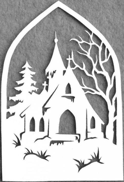 vystrihovačky z papiera pre deti kostol   Scherenschnitte: Christmas ...