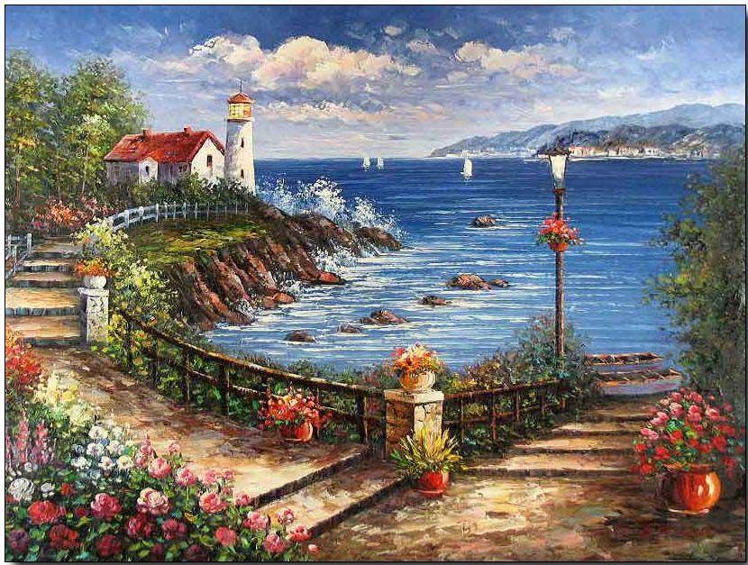 Lighthouse oil painting, Lighthouse oil painting www.oilpaintingshere.com