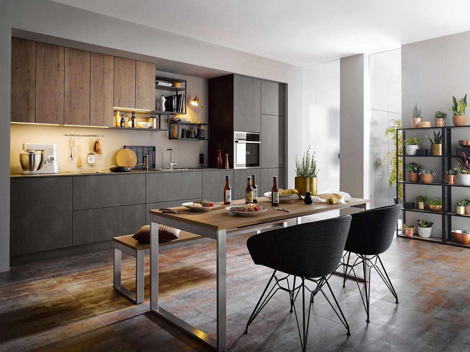 Modern Kitchen Design Ideas By Schuller German Kitchens Steel Dark Effect Kitchenst Modern Kitchen Design Modern Kitchen Cabinet Design White Modern Kitchen