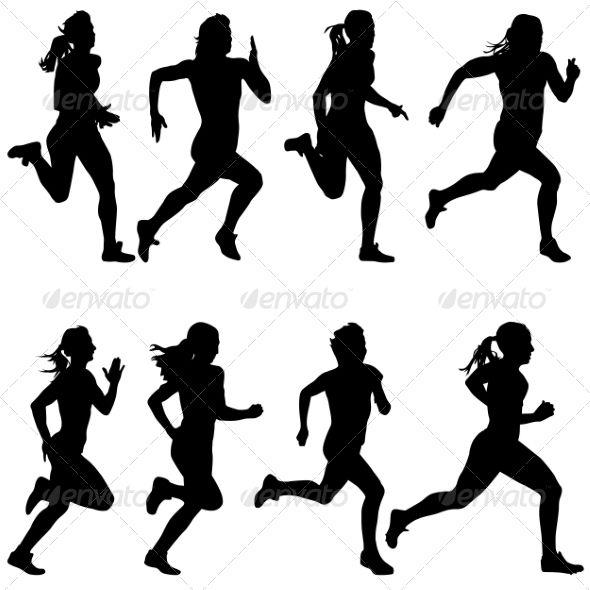 Set Of Running Silhouettes Tatuagem De Corredor Silhueta