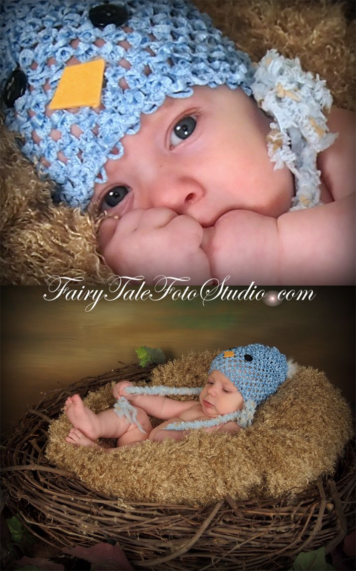 Baby bluebird in a nest springtime newborn blue bird hat spring time easter fairytale portrait poses photo idea photography cute kid pic baby