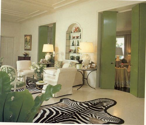 10 Fabulous Living Room Ideas By Kelly Wearstler: Love The Cream And Green And Zebra Rug