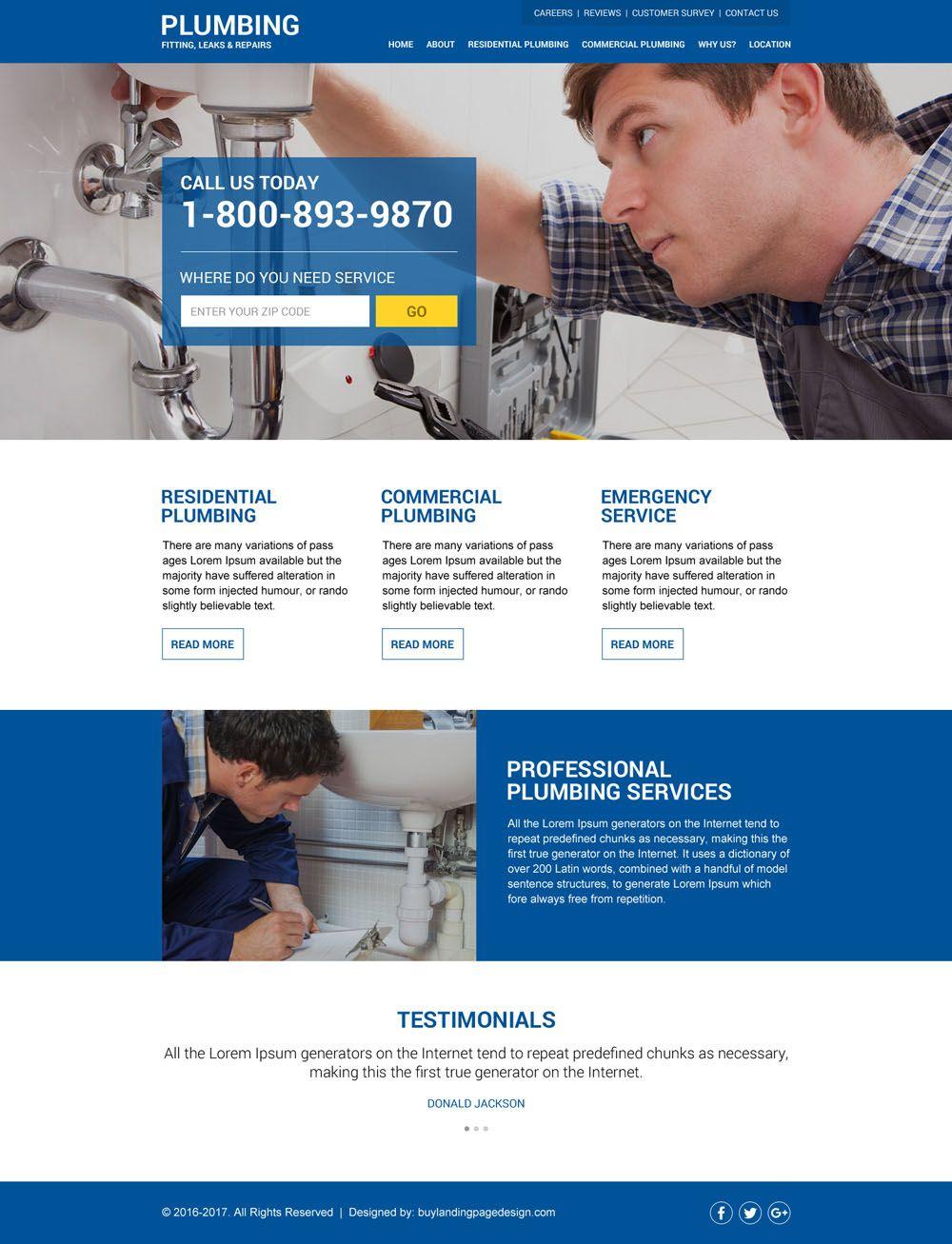Plumbing Html Website Design Added To Buylandingpagedesign Com Buylandingpagedesign Com Website Design Plumbing Website Template Design