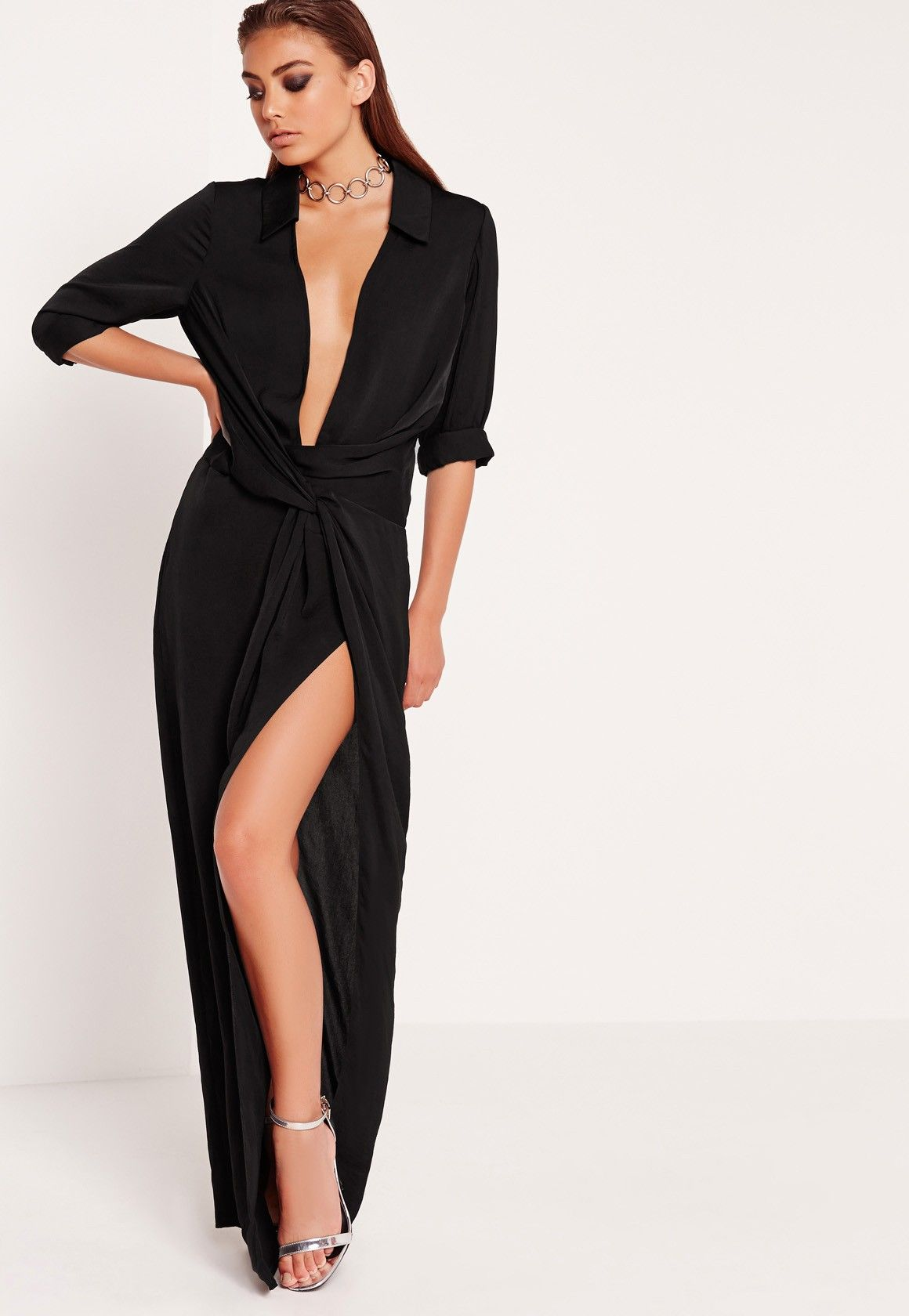 02a1ad55bba Missguided - Peace Love Wrap Front Shirt Maxi Dress Black