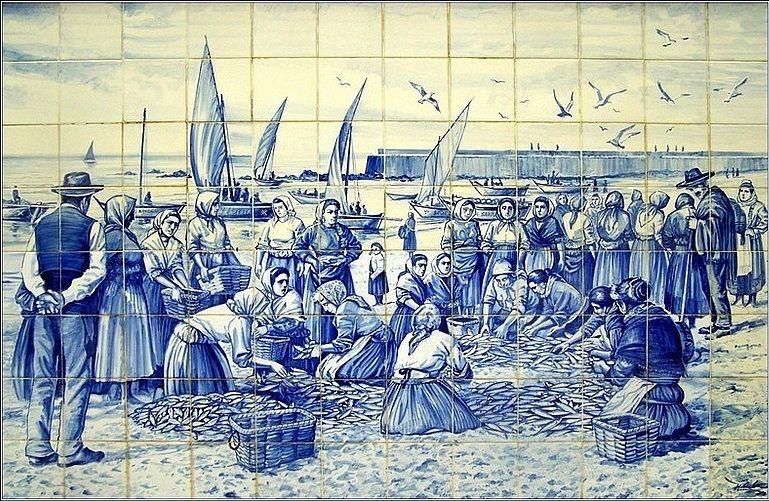 Cenas Da Vida Quotidiana Povoa De Varzim Azulejos Portugueses