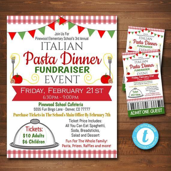 EDITABLE Spaghetti Dinner Fundraiser Flyer Ticket Set, Pto