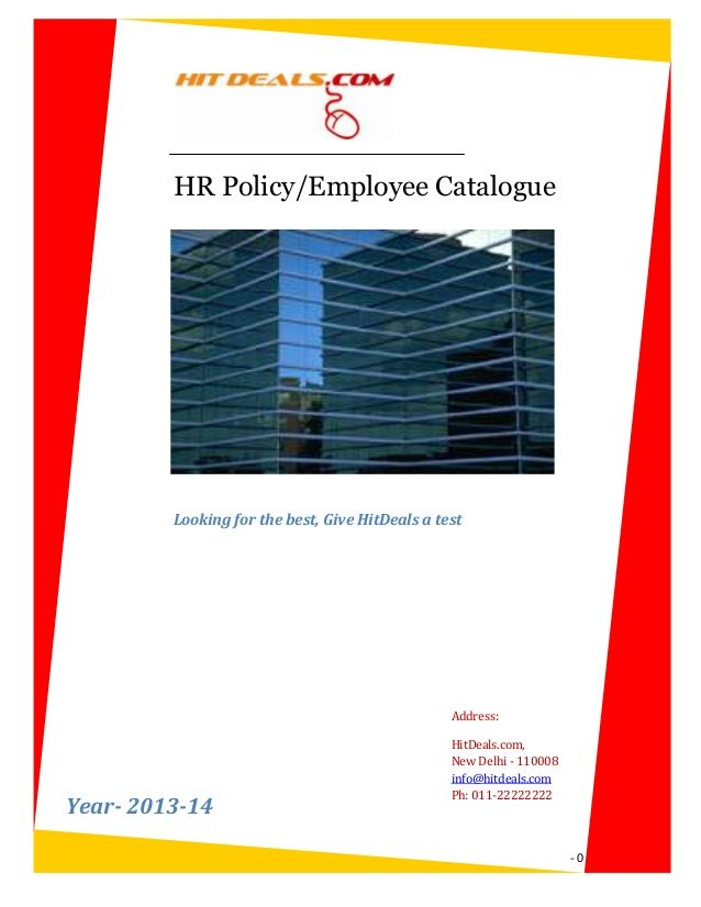 HR Policy\/Employee Catalogue Looking for the best, Give HitDeals a - employee manual template