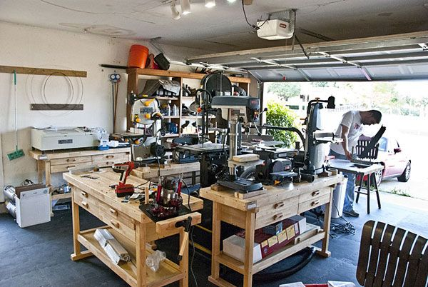 6d75a39ad2f6599224b4caa75fd9c6a3 how to transform your garage into the ultimate home workshop,Home Woodshop Design