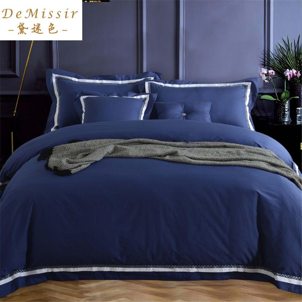 Gorgeous Cotton Bedding Set King Queen Navy Blue size 4PCS Set Duvet Cover Sheet Bedspread 2 Pillow Case housse de couette cama(China (Mainland))