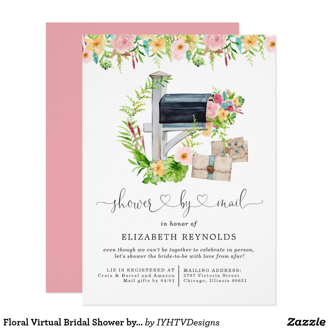 Floral Virtual Bridal Shower By Mail Invitation Zazzle Com In 2020 Floral Bridal Shower Invitations Bridal Shower Bridal Shower Invitations