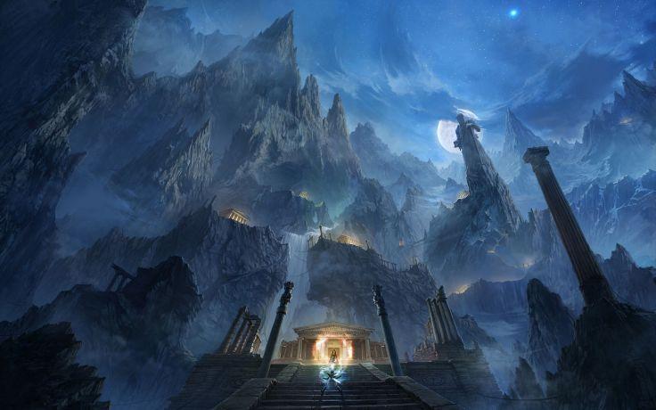 Mountains night moon fight rocks fantasy art magic temples - Saint seiya wallpaper desktop ...