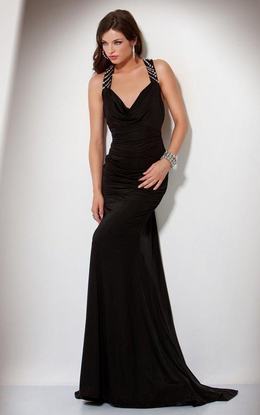 Best sleeveless spandex column sweep train straps evening dresses