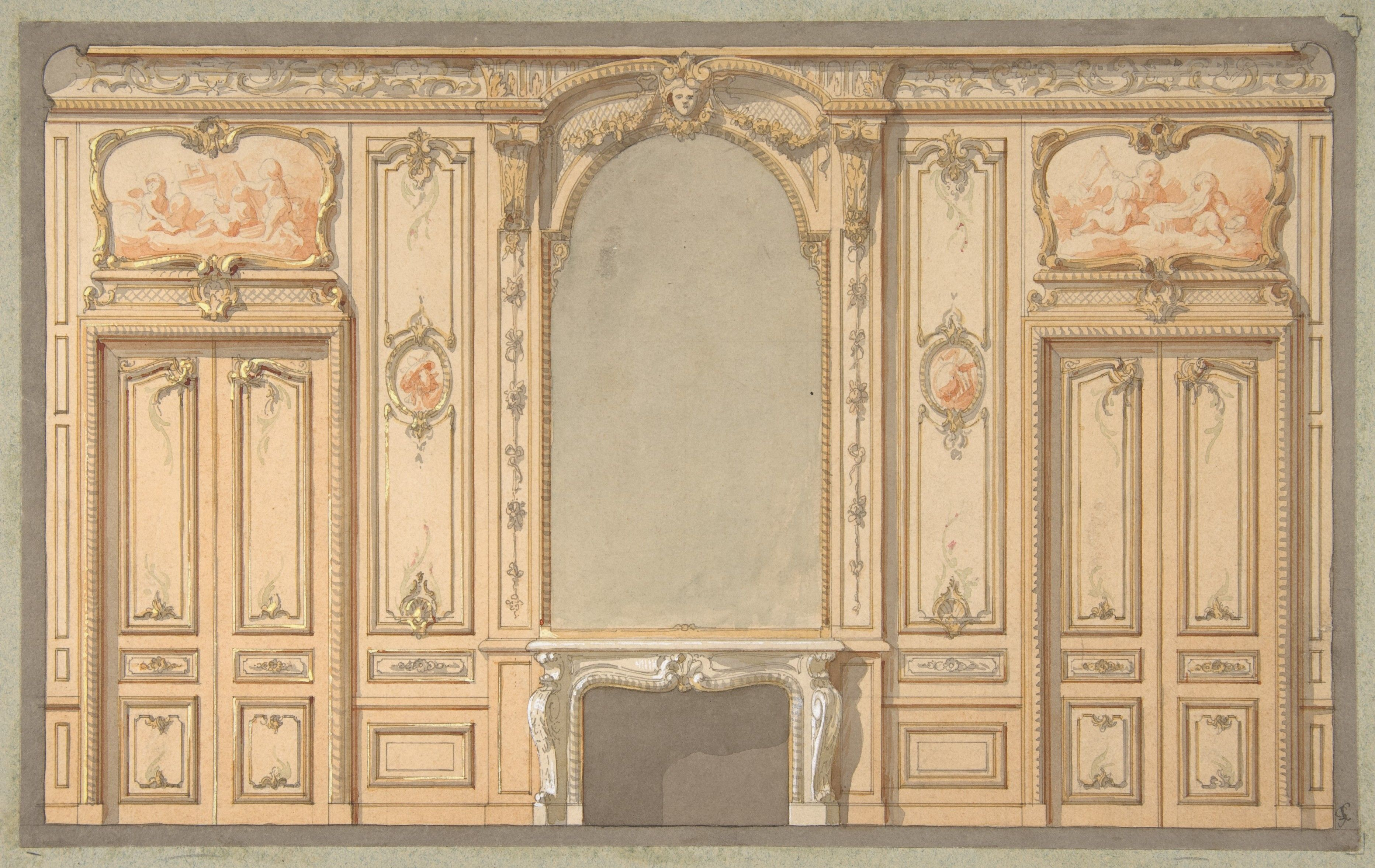 Jules-Edmond-Charles Lachaise | Design for wall panels, mirror ...