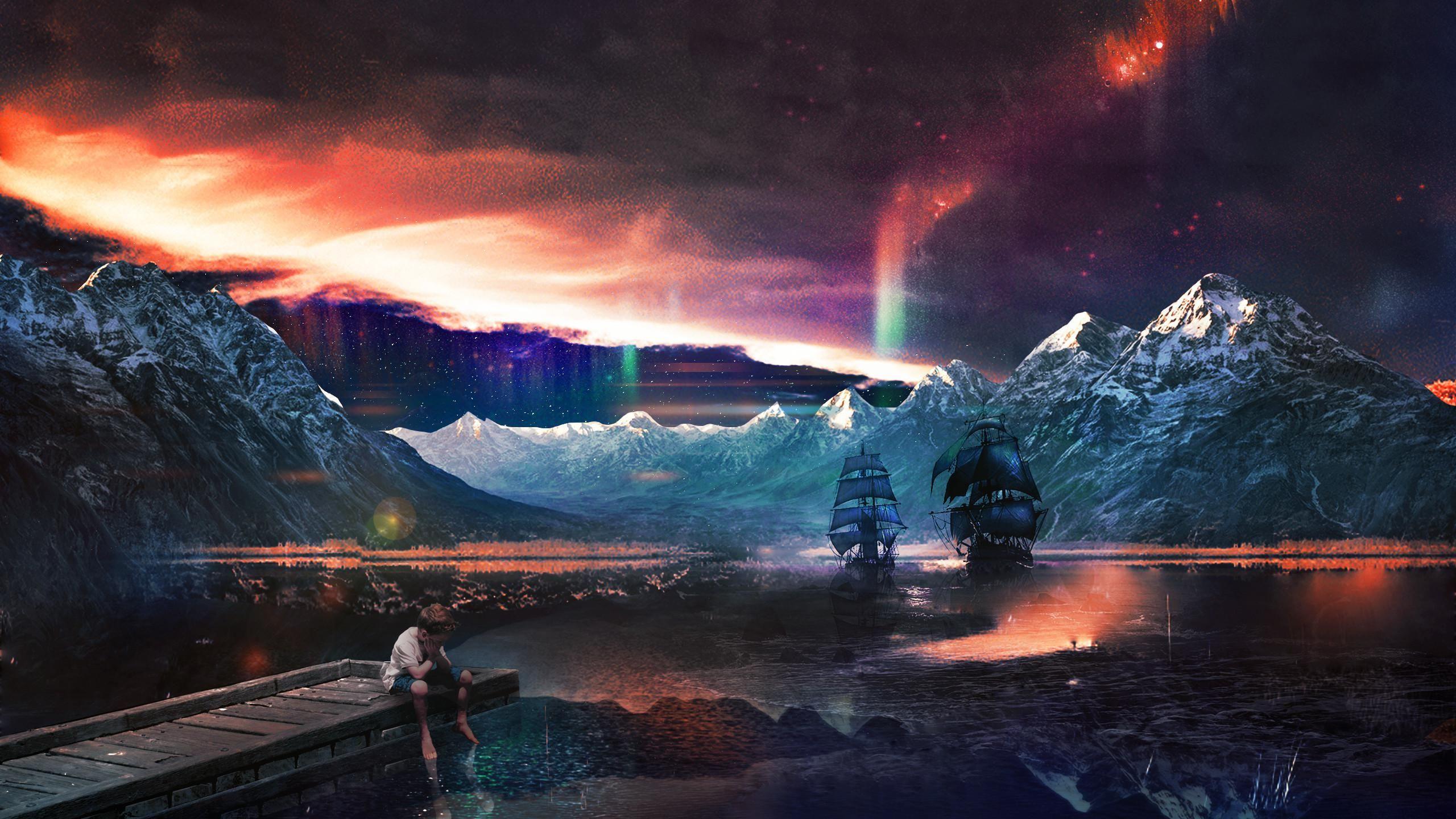 Lone Wolf In Fantasy World 2560x1440 Fantasy Landscape World Wallpaper Space Fantasy
