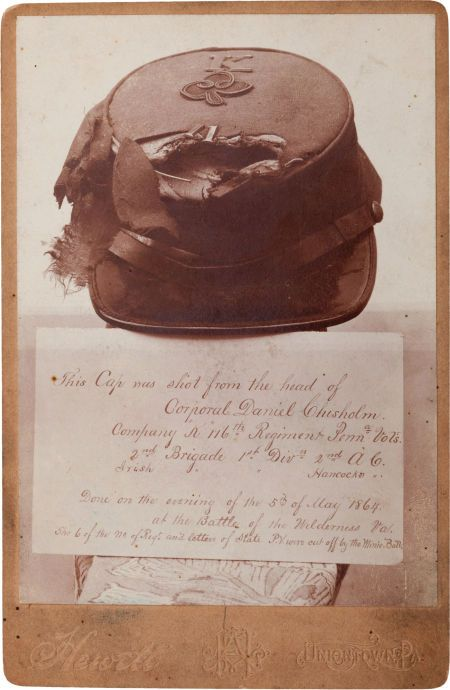 , Cabinet Card Photograph of the Hat Shot From the Head of CorporalDaniel Chisholm, Battle of Wilderness, Virginia....