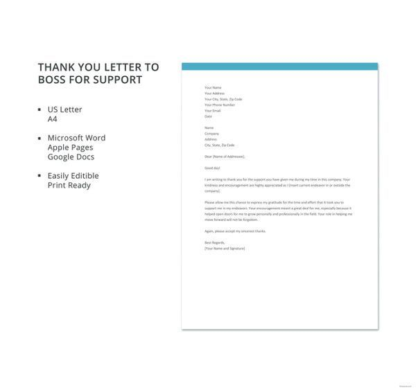 23+ Thank You Letter To Boss Templates \u2013 Free Sample, Example Format - letter of support sample