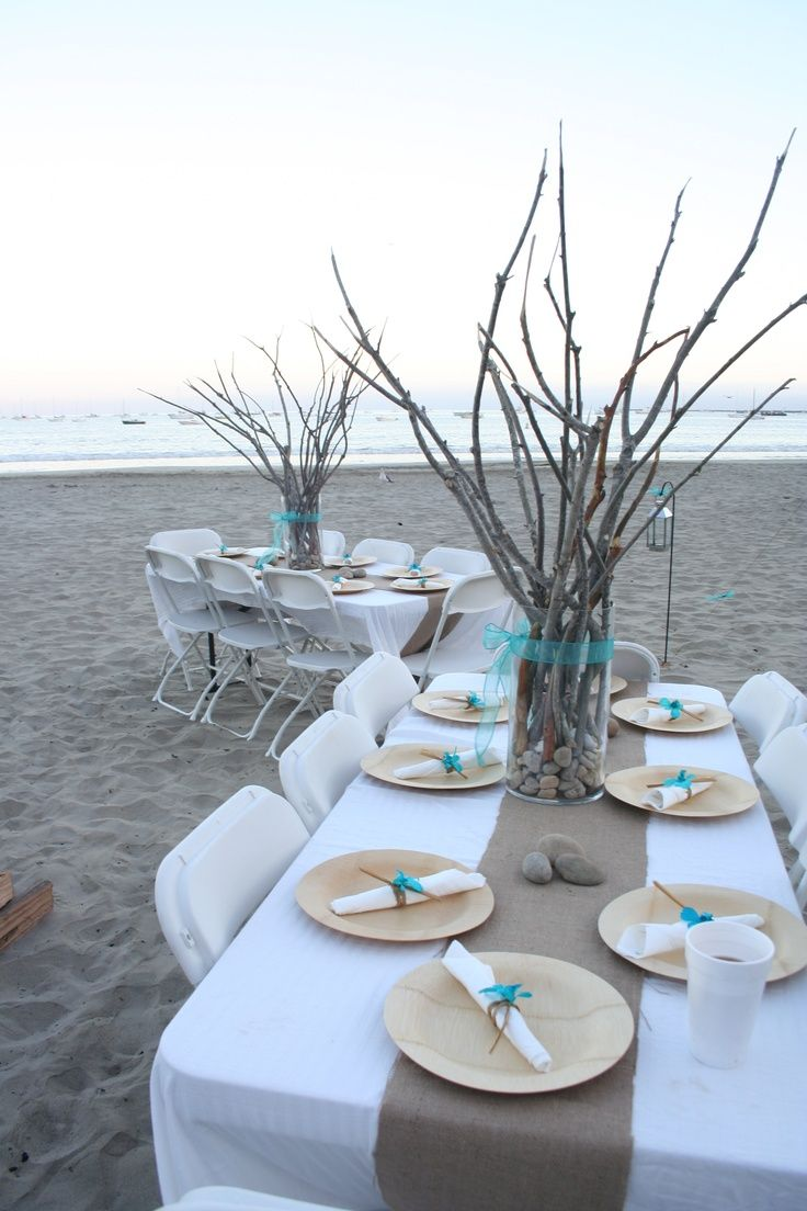 Beach Wedding Inspiration Table Setting So Gorgeous Pastel Blues Rustic Branches And Simple Less Is More