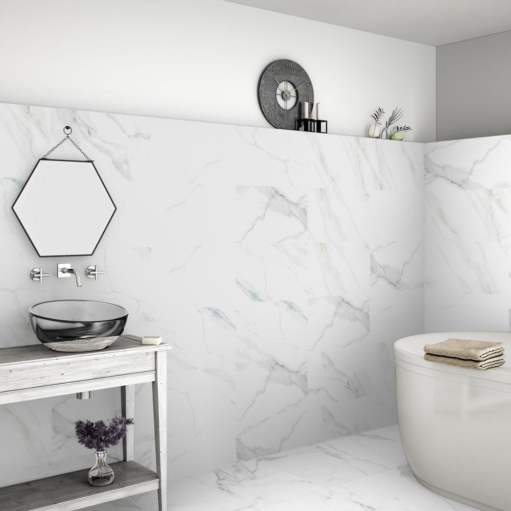 Calacatta Marble Effect 60x30 Matt Tiles In 2020 Marble Wall Tiles Bathroom Design Inspiration Wet Room Flooring