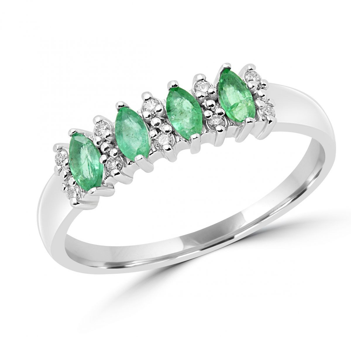 Express your love with this splendid marquise-cut green emerald gemstone and diamond cocktail ring. A truly classic setting style, this anniversary fashion ring features four marquise cut green emeralds, pointing North to South, separated by sparkling diamond accents. A beautiful way to commemorate your 20th or 55th anniversary, a birthday in the month of May, or simply as a gift for the emerald gemstone lover in your life.