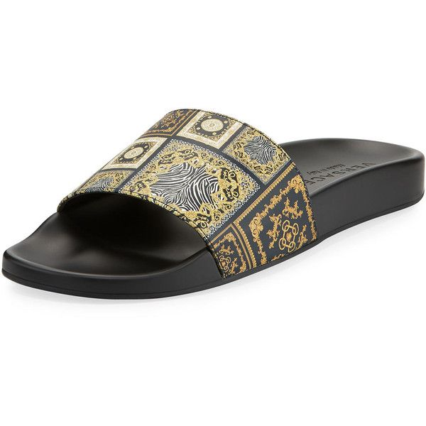 8f49ea95cf8ddd Versace Men s Baroque Tile Signature Slide Sandal ( 395) ❤ liked on  Polyvore featuring men s fashion