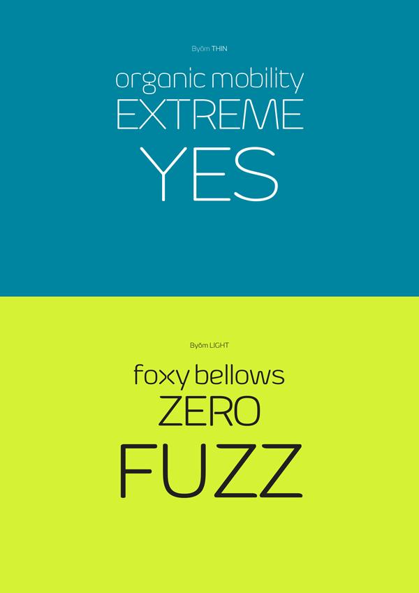 Byŏm is a contemporary sans serif typeface family designed