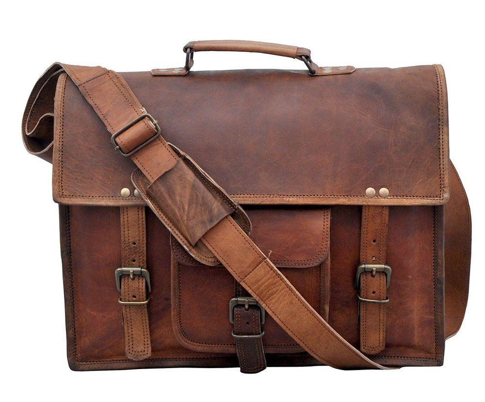 Large Mens Genuine Vintage Brown Leather Messenger Bag Shoulder Laptop Briefcase
