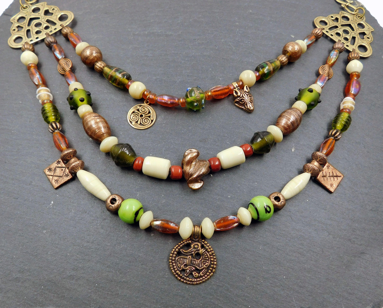 Viking brooch chain 3 row / bronze / beige / green / brown ...