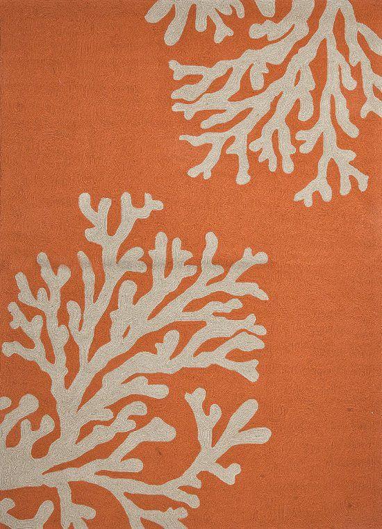 Good Grant Collection I O GD01 Bough Out Polypropylene Orange Coral Rug