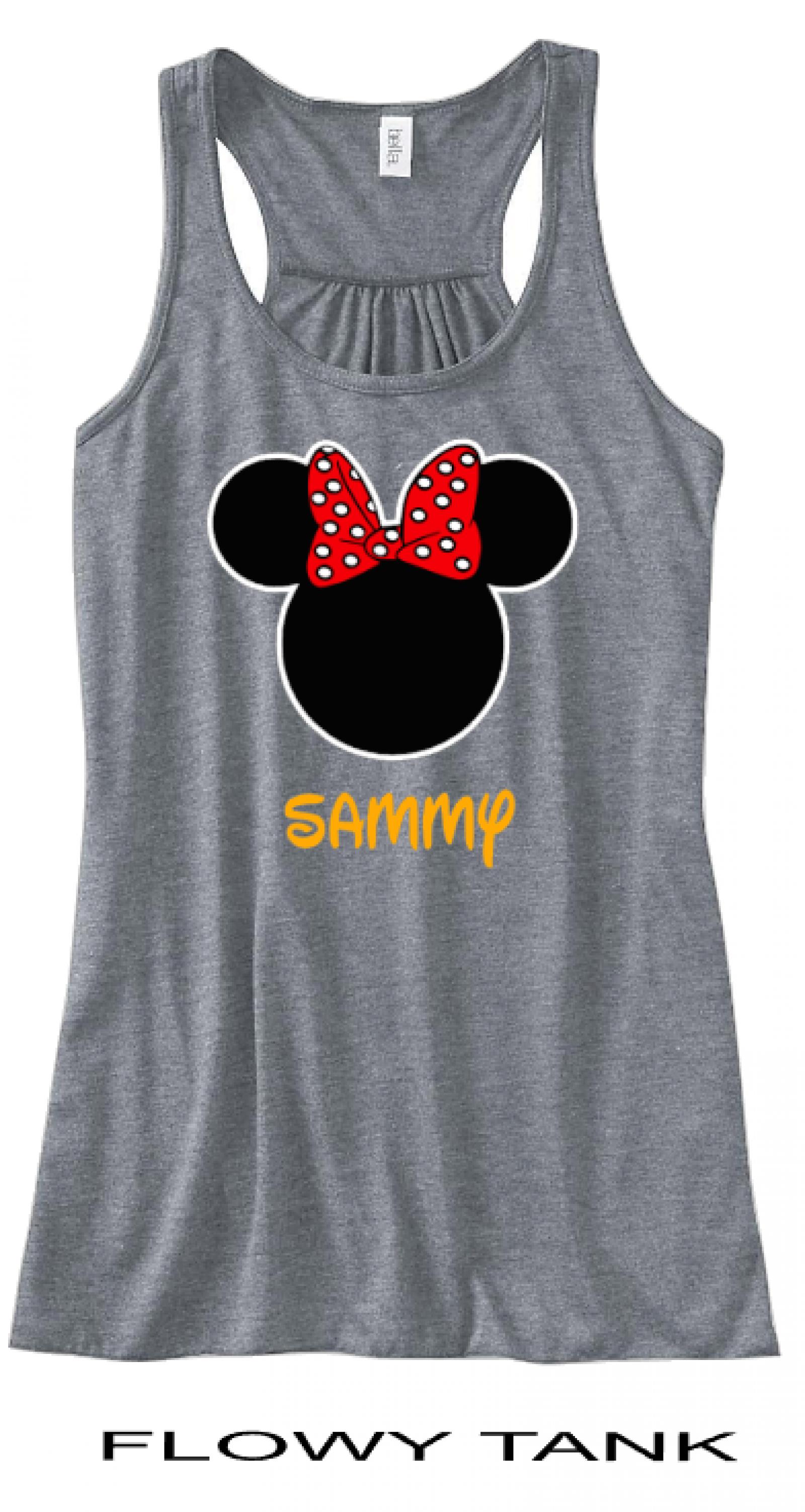 Minnie Mouse Tank Top Disney Family Vacation Trip T-Shirt Disney Shirt Minnie Mouse Inspired Black Red White Polka Dot Disney Dress