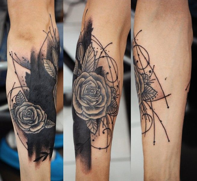 Татуировки змеи цветок 38