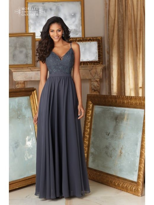 Mori Lee Bridesmaid 146 Lace And Chiffon Long Dress Charcoal Grey