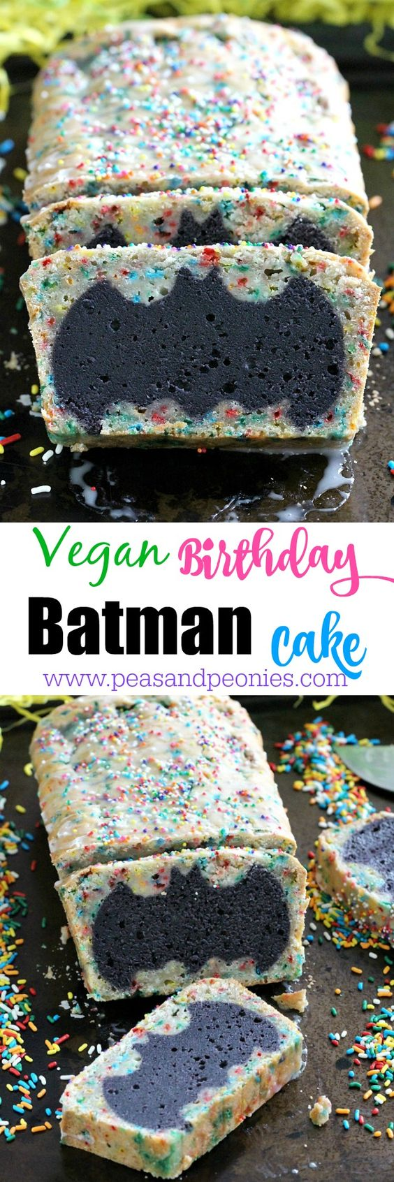 Easy to make Vegan Batman Cake is fun for the kids and adults. Easy ingredients for a fun, delicious cake for your next celebration. Peas and Peonies