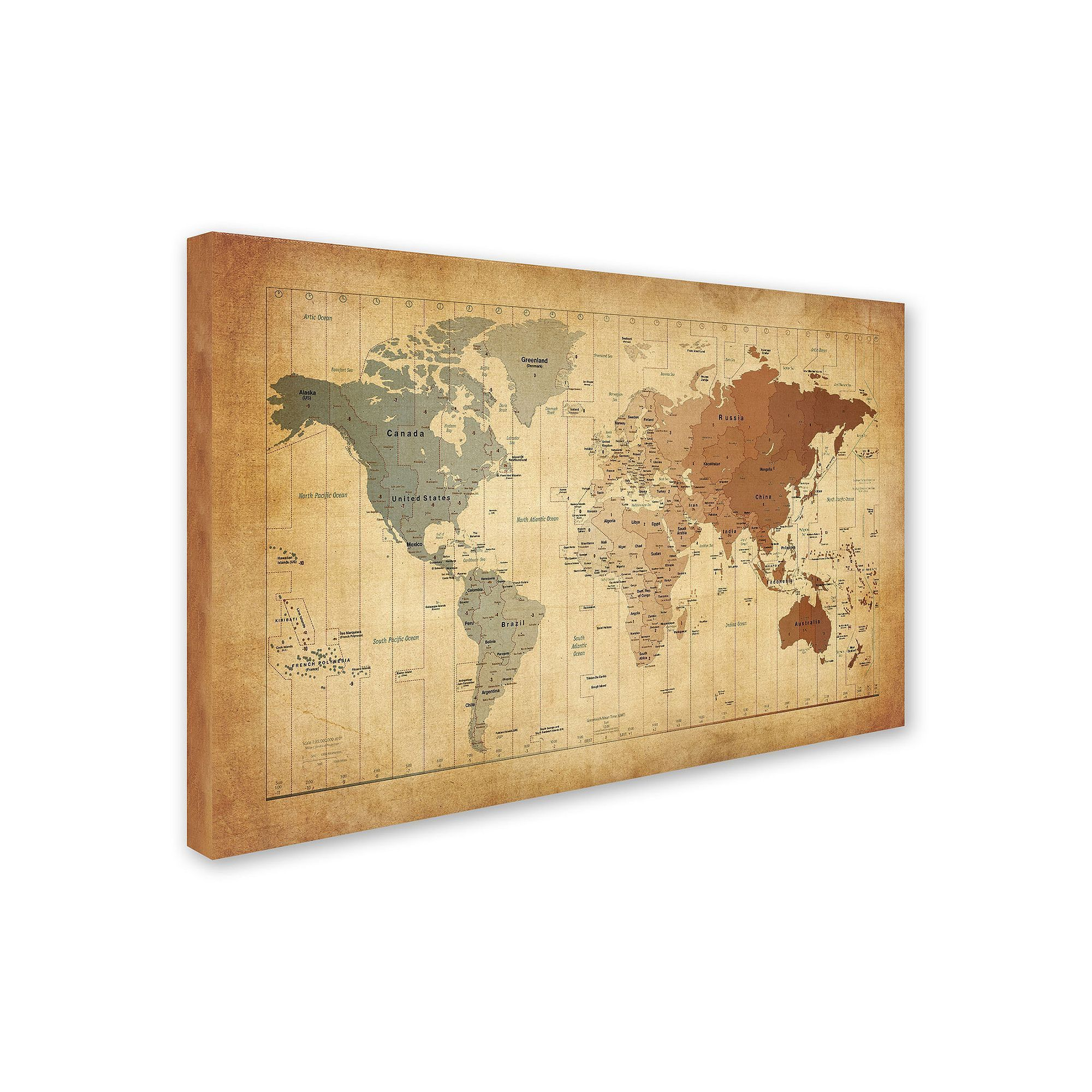Kohl\'s Time Zones Map of the World Canvas Wall Art | Time zone map ...