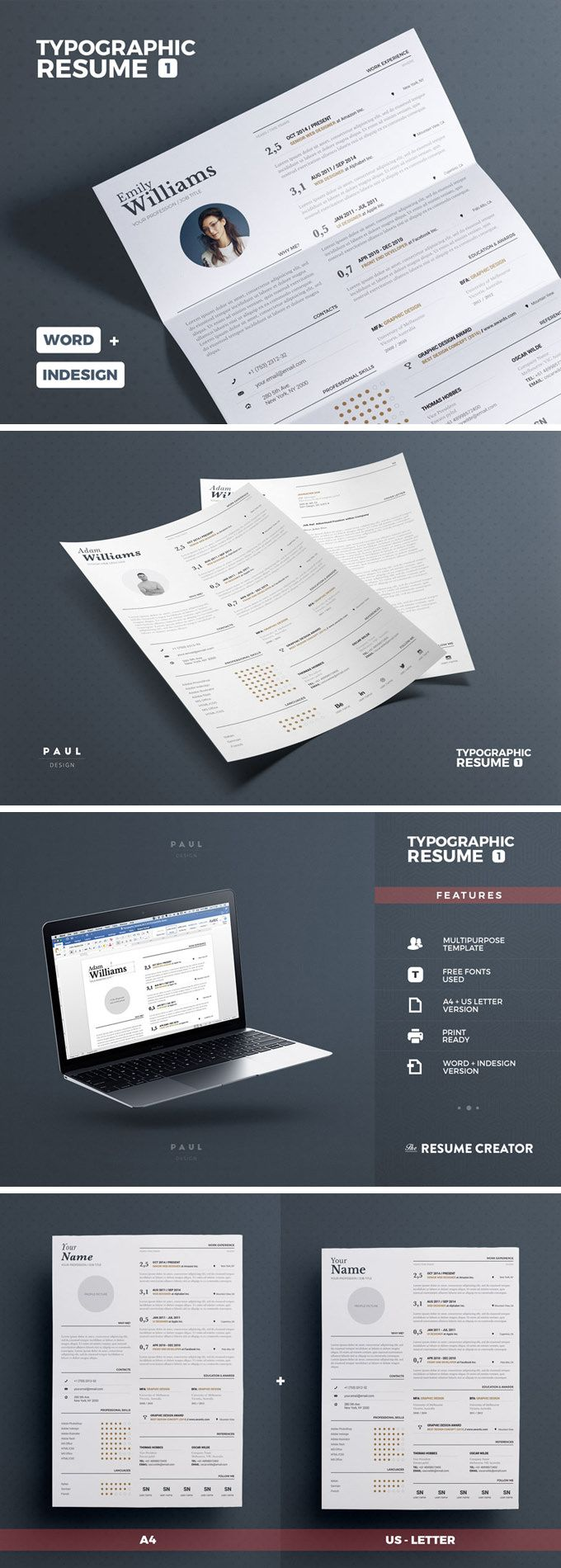 Typographic Resume Tempalate  Free Resume Adobe Indesign And Adobe