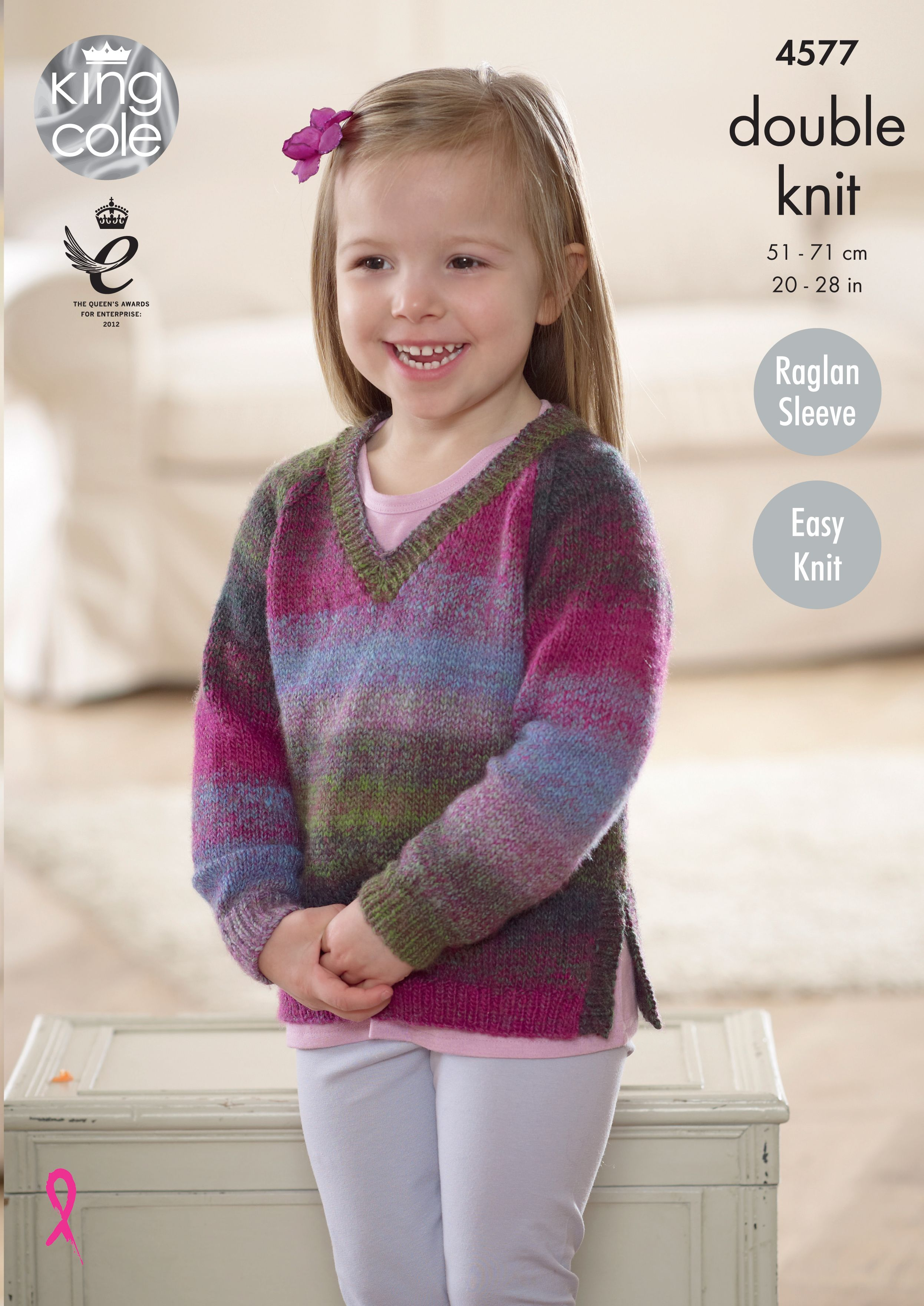 Girls Knitted V Necked Sweater King Cole