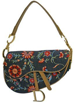 92f508f6f8fb Christian Dior Denim Flower Embroidered Sadle Shoulder Bag