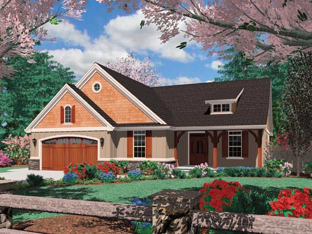 The exterior of this Craftsman home has appeal with thoughtful appointments, and its interior is spacious and well laid out.  Craftsman House Plan #441181.